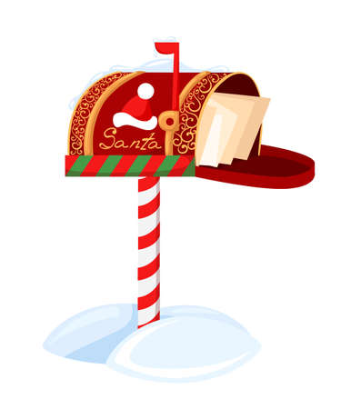 new year s santa claus: Santa s mailbox Vector illustration of a letter for Santa Claus Merry Christmas and Happy New Year. Mail wish list snow.