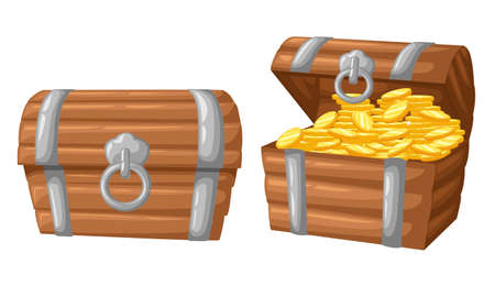 Vector illustration. treasure of gold coins on dark Wooden Chest set for game interface money coin. Vettoriali