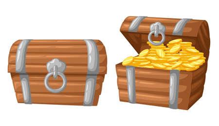 Vector illustratie. Schat van gouden munten op donkere houten borst set voor game interface geld munt.