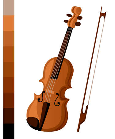 Vector illustration in flat style design Classical violin. Isolated musical instrument Illustration