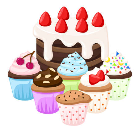 Cupcake vector set isolated Cake collectin sweet candy. Illustration