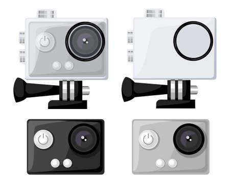 Actie camera iconen vector set vlakke stijl Realistische vector illustratie. Toestel voor het filmen van actieve rust.