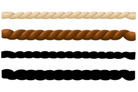 Different thickness ropes isolated on white, vector illustration.
