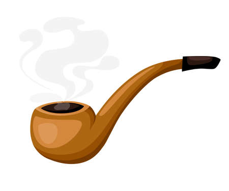 cigarette pack: Smoke tobacco, smoking pipe, hookah. Isolated flat set of addiction, bad habits. tube cigar set Flat design style vector illustration