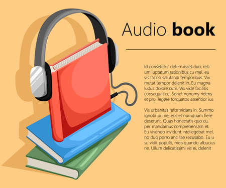 Audio guide or audio book icon Flat design style vector illustration