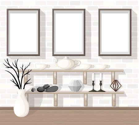living room wall: Mock up Modern Office Interior Flat Design Vector Illustration workplace concept Workplace concept. Modern home office