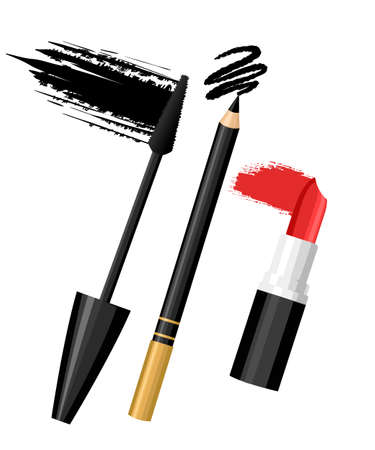 Set of color eye lip make up. Vector fashion sketch makeup contrasty glamour in vogue style. Isolated elements on white background eye lips. Illustration