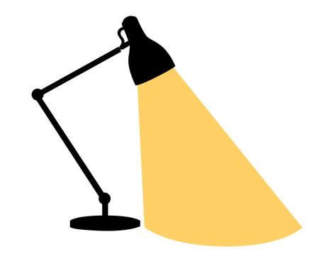 office furniture: Flat cartoon lamp light isolated.The flow of light Table lamp icon, Desk modern vector illustration.