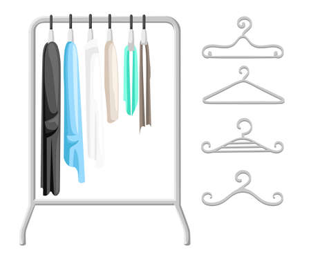 clothing rack: Hanger racks with clothes on hangers. Flat design style modern vector illustration concept