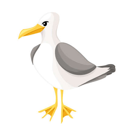 Seagull on a white background in cartoon style sea, ocean bird icon or button in flat style, isolated vector illustration