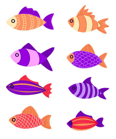 Graphic fish violet red pink with a pattern and to leaves Multi-colored small fishes in the sea the ocean Fishing. Hand drawn vector fish. Sketch