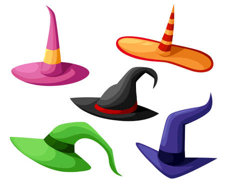 Hat of the sorcerer conjurer Witch hats halloween with straps and buckles set halloween. Vector illustration isolated on white background.