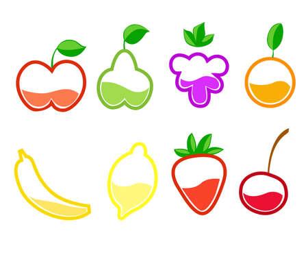 Juice fresh fruit shake in plastic cups with straws set. Vector illustration Illustration