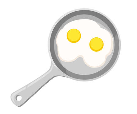 Frying pan fried eggs and egg shell in the background illustration vector Stock Illustratie
