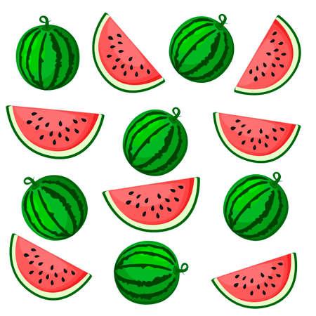 Sappig watermeloen zomerfruit en een plakje watermeloen. Vectorillustratie op witte achtergrond. Elementen voor ontwerp. Meloen print. Zomer waterfruit.
