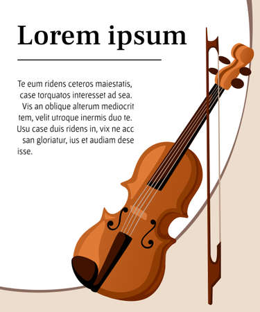 cellos: Vector illustration in flat style design Classical violin. Isolated musical instrument on white background