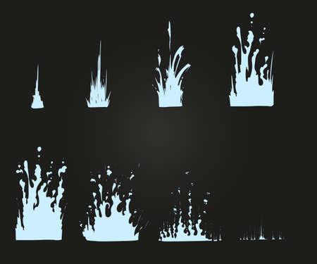 Vector effects for game. Blast effect animation. Ilustração