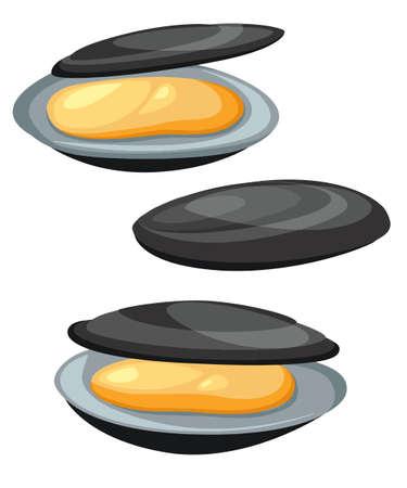 ムール貝はベクトル イラスト漫画のスタイルです。白い背景に分離されたシーフード プロダクト デザイン