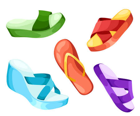Beach slippers icon vector illustration Beach slippers icon isolated. Beach slippers summer symbol for traveling design. Summer time vacation. Ilustracja