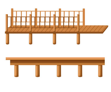 橋脚は橋脚シルエットで、白と黒の線、色のイラスト  イラスト・ベクター素材