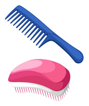 haircutting: Vector illustration Fashion equipment collection of combs hairbrush for hair, set of different types of combs, vector isolated on white background, Hairdresser style accessories, hairdryer