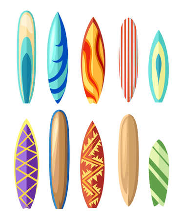Vector surfboard illustration in flat style design Isolated on white background Color surfboard set. Sea extreme sport pattern. Vector illustration. Vettoriali