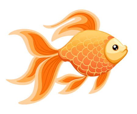 Vector illustration isolated on background Goldfish aquarium fish silhouette illustration. Colorful cartoon flat aquarium fish icon for your design  イラスト・ベクター素材
