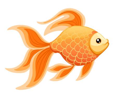 Ilustración vectorial aislados en fondo Goldfish acuario peces silueta ilustración. Icono plano de pescado de acuario de dibujos animados de colores para su diseño