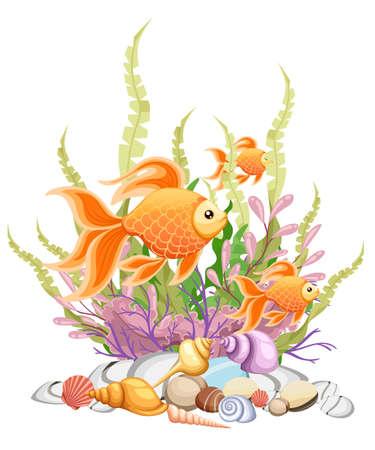 ベクトル イラスト背景金魚水族館魚のシルエット イラストを分離しました。あなたのデザインのカラフルな漫画フラット水槽魚アイコン