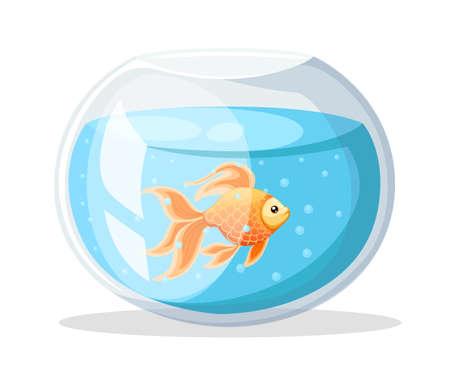 Vector illustration isolated on background Goldfish aquarium fish silhouette illustration. Colorful cartoon flat aquarium fish icon for your design Vettoriali