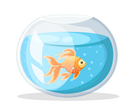 Vector illustration isolated on background Goldfish aquarium fish silhouette illustration. Colorful cartoon flat aquarium fish icon for your design Stock Illustratie