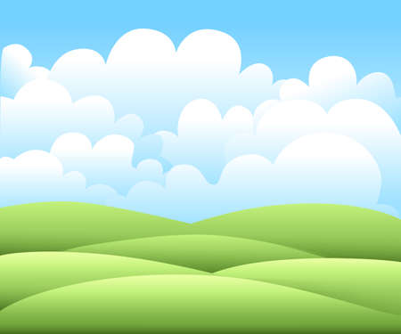 grasslands: Vector illustration.Bright nature landscape with sky, hills and grass. Rural scenery. Field and meadow.