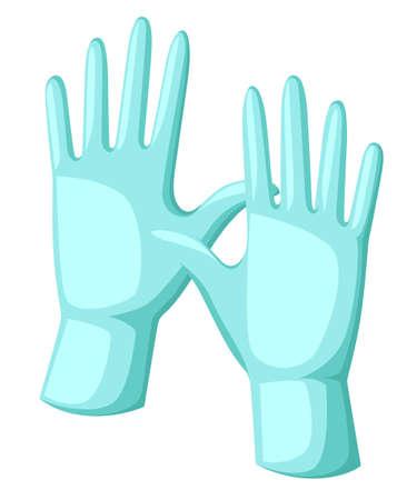 물 장갑 만화 벡터 일러스트 레이 션 수술 장갑 의료 보호입니다. 일러스트