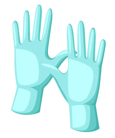 Water gloves cartoon vector illustration surgery glove medical protective.