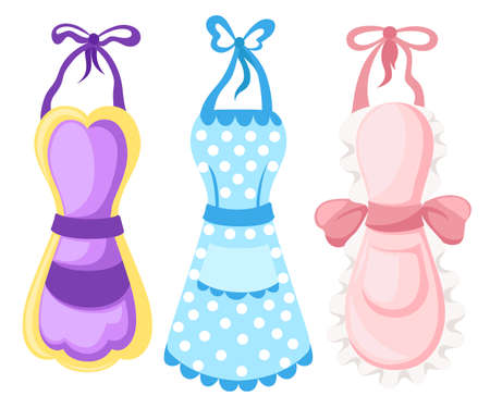 Vector illustration. womens lovely apron kitchen apron. pink apron hearts. vector image on white background Illustration