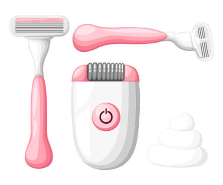 Womens razor collection for website. Bottle of wax, sugar paste for sugaring, scissors, wax strips, shaving razor, eyebrow tweezers, clipper. Shaving icon isolated on white background