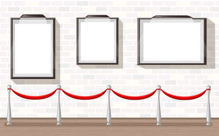 Three empty picture frames with stanchion museum exhibition background vector illustration Illustration