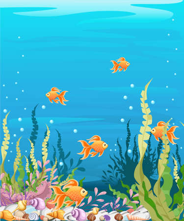 underwater fishes: Marine Life Landscape - the ocean and underwater world with different inhabitants. For print, create videos or web graphic design, user interface, card, poster. Illustration