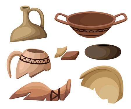 Archeology and paleontology concept archaeological excavation Web site page and mobile app design vector element. ancient history achaeologists unearth ancient artifacts vector illustration.