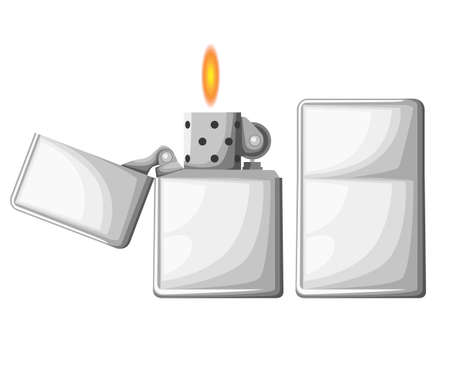 Cigarette lighter Vector illustration of lighter mockup in 2 positions opened and closed. Add your company name or logo Web site page and mobile app design vector element Illustration