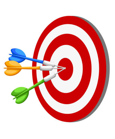 Target Dart arrow hitting center target on white background, flat vector illustration Web site page and mobile app design vector element Çizim