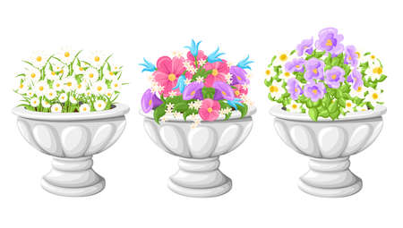 Flower in ceramic grey flowerpots for cultivation of plants. Clay pot in an isometry, isolated on a white background. Web site page and mobile app design vector element.