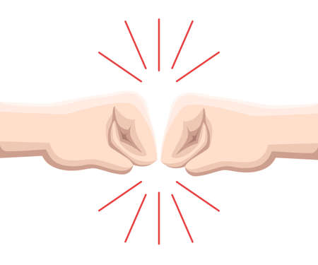 Two fists are against each other in readiness to hit. Web site page and mobile app design vector element