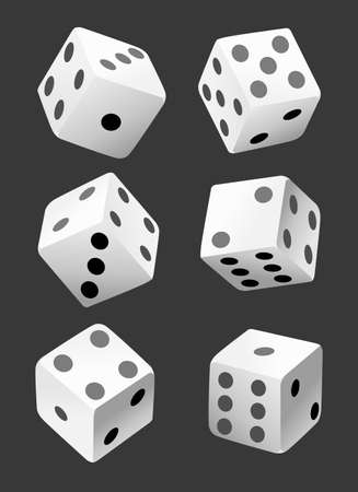 Vector illustration of white dice with double six roll. No gradients or effects. Web site page and mobile app design vector element Ilustracja