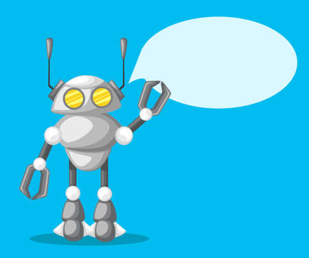 Friendly Android Robot Character With Two Antennas Cartoon Illustration Flat design, vector illustration, vector. Web site page and mobile app design vector element
