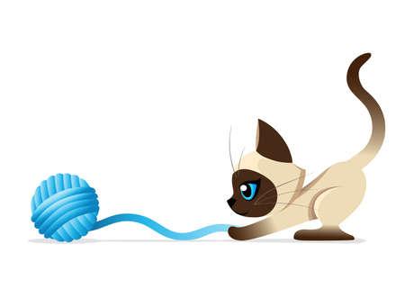 Siamese kat de Lovely kitten met blauwe ogen pluizig op een witte achtergrond vlekkerig een huisdier Kat rassen schattig huisdier set vector illustratie Website pagina en mobiele app ontwerp vector element Stock Illustratie