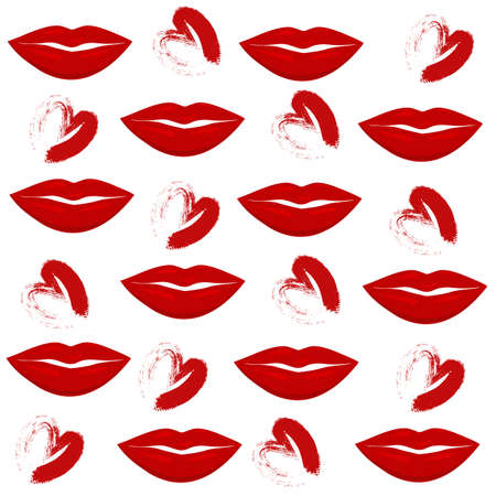 Print of lips kiss vector background Web site page and mobile app design vector element