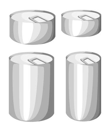 hermetic: Collection of various tins canned goods food metal container grocery store and product storage aluminum flat label canned conserve illustration. Web site page and mobile app design vector element Illustration