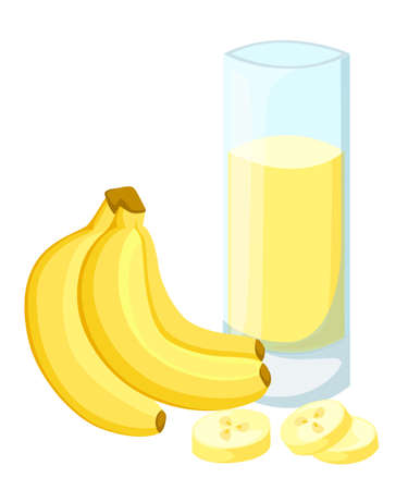 Design Template banner, poster, icons banana smoothies. Illustration of banana juice Drink me. Freshly squeezed tropical banana juice for healthy life. A glass of juice in doodle cute style. Vector.