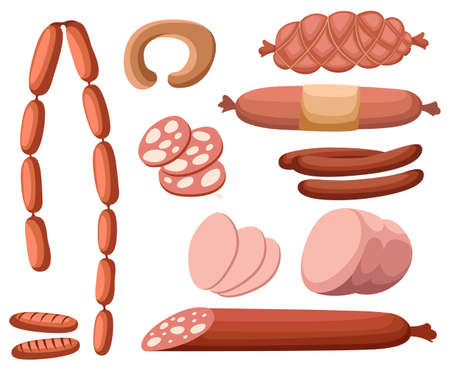 Meat and sausages Set of fresh and prepared meat. Beef, pork, salted lard and bologna and salami sausages. Modern flat style realistic vector illustration icons isolated on white background